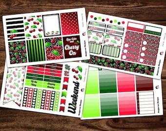 NEW LAYOUT* Cherry On Weekly Planner Vertical Sticker Kit / Happy Planner / Erin Condren