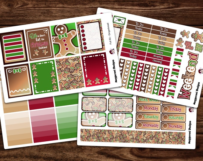 Featured listing image: LIMITED TIME* Vertical 4 Piece Weekly Planner Functional Sticker Kit / Gingerbread / Holiday / Happy Planner / Erin Condren