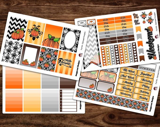 Featured listing image: Damask Pumpkin Planner Stickers / Full Weekly Kit/ Summer Sticker Set / Erin Condren Vertical Layout /Happy Planner