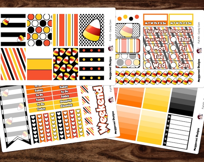 Featured listing image: Full NEW LAYOUT Candy Corn Halloween Weekly Planner Sticker kit, Happy Planner, Mambi, Condren, EC,