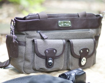 SALE! Laptop Camera Bag - Stylish Camera Bag - Women Camera Bag - Cocoa Brown - Lisbon Lei Momi Camera Tote