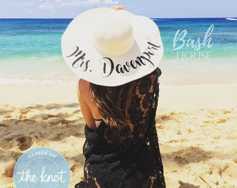 3f80ab35295f Honeymoon Beach Hat - Floppy Hat - Mrs. Beach Hat - Personalized Floppy Hat  - Personalized Bride Gift - Bridesmaid Gift - Bridal Party Hat