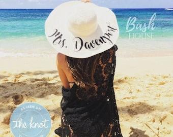 Honeymoon Beach Hat - Floppy Hat - Mrs. Beach Hat - Personalized Floppy Hat - Personalized Bride Gift - Bridesmaid Gift - Bridal Party Hat