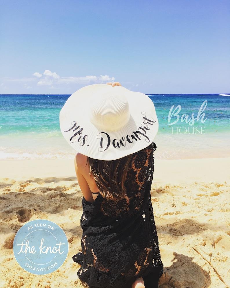 Honeymoon Beach Hat  Floppy Hat  Mrs. Beach Hat  image 0