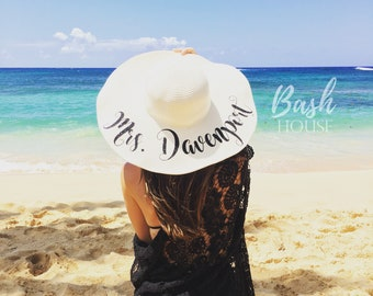 Honeymoon Beach Hat - Floppy Hat - Mrs. Beach Hat - Personalized Floppy Hat - Personalized Bride Gift - Bridesmaid Gift - Bridal Party Hat