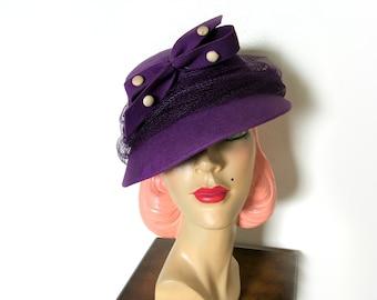 Vintage 1940's Purple Wool Tilt Hat~