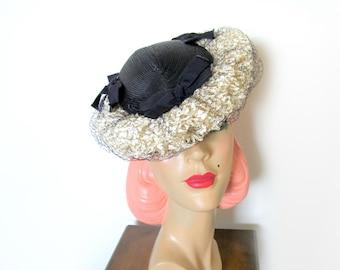 Vintage 1940's Navy Straw Tilt Hat w/Ruffles/Veil~ Valerie Modes