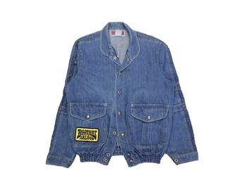 Womens Harley Denim jacket vintage fade grunge L