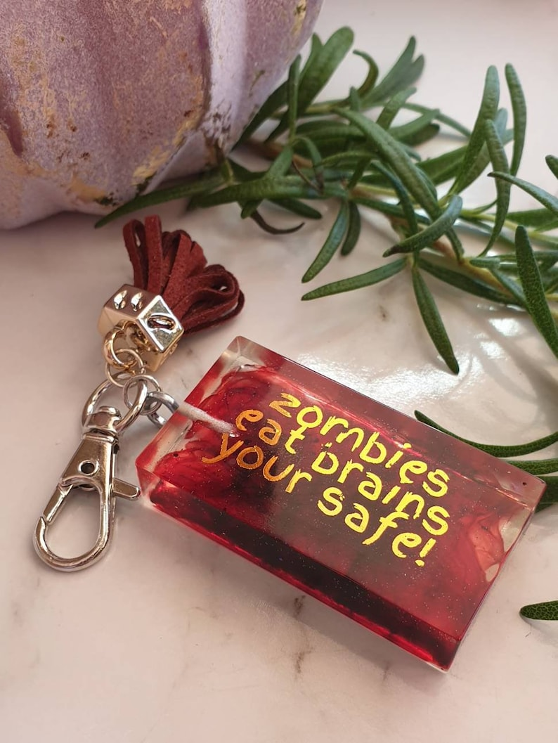 Keycharm Quote Words Sayings Key Ring Planner accessories Zombie Resin Keyring with Tassel