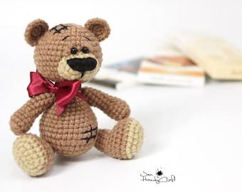 Teddy bear with bow - Cute teddy bear plushie - Bear stuffed animal