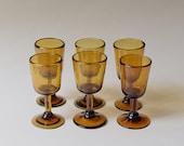 Vintage Set of 6 Blown Glass Amber Cups | Vintage Amber Glassware | Blown Glass Wine Glasses | Blown Glass Champagne Flutes | Unique Glass