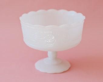 E. O. Brody Co. Large Milk Glass Pedestal Bowl | Vintage White Milk Glass | Milk Glass Vase | Vintage Wedding Decor
