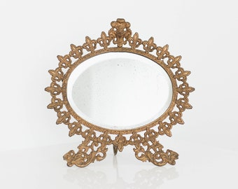 RESERVED FOR MONA Antique Fleur De Lis Table Top Mirror | Gold Painted Metal French Mirror | Antique Unique Table Top Vanity Mirror