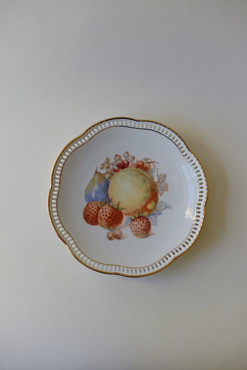 Pears Decorative Fruit Plate Currants Reticulated Vintage Plate Strawberries Vintage Bavaria Schumann Arzberg Germany Plate