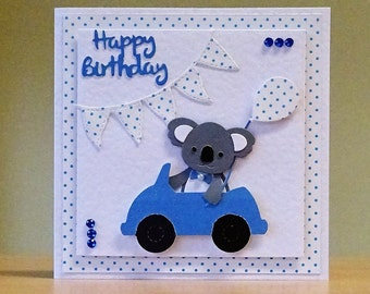 Birthday Card - Cute Dog/ Beaver/ Bear/ Koala Bear in Car - Birthday Card For Children/ Kids/ Men/ Women/ Family/ Son/ Daughter - Handmade