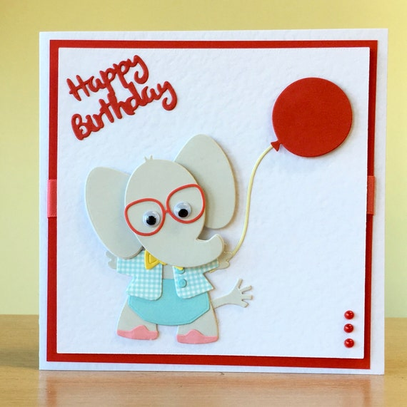 Groovy Birthday Card Handmade Cute Elephant Rabbit Cat Etsy Funny Birthday Cards Online Fluifree Goldxyz