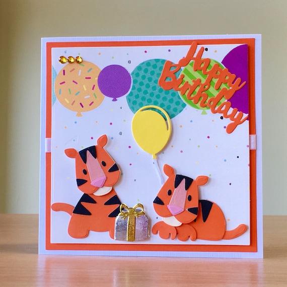 Birthday Card Handmade Cute Lion Birthday Card Cute Tiger Etsy