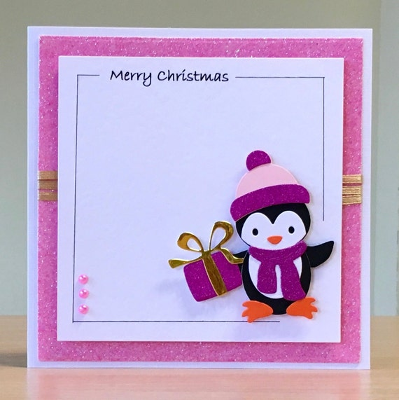 Ideas For Christmas Cards Handmade.Christmas Card Handmade Cute Penguin Christmas Card Xmas Card For Girls Women Children Mum Daughter Sister Auntie Grandma Niece