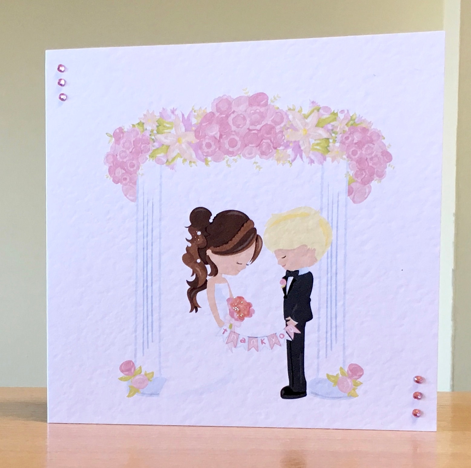 wedding thank you card handmade card to say thank you for
