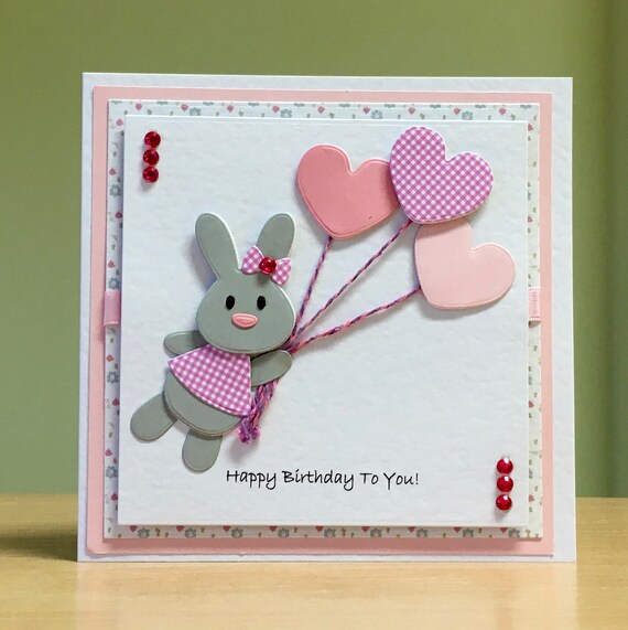 Enjoyable Birthday Card Handmade Rabbit Bunny Birthday Card Cute Etsy Personalised Birthday Cards Veneteletsinfo