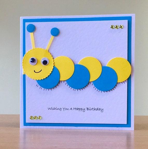 Birthday Card Handmade Cute Caterpillar