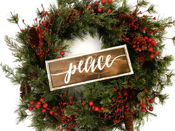 Peace Christmas Sign.Peace Wooden Christmas Sign Christmas Wreath Sign Rustic Christmas Sign Farmhouse Christmas Sign Hand Painted Wood Sign