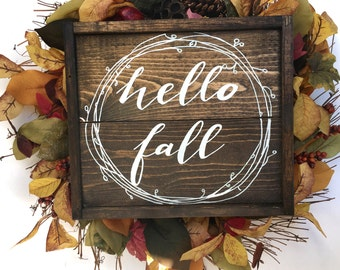 Hello Fall Handcrafted Wooden Sign // Fall Wreath Sign // Rustic Fall Sign // Rustic Fall Decor // Farmhouse Fall Sign // Hand Painted Sign