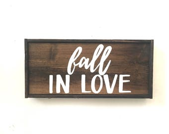 Fall In Love Handcrafted Wooden Fall Sign // Halloween Sign // Dining Room Sign // Farmhouse Fall Sign // Farmhouse Fall Decor