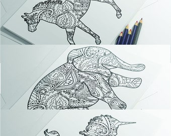 Animal Coloring Page Elephant Horse Unicorn Pages Instant Download Digital