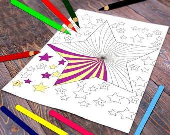 Stars Coloring Page Adult Printable Sheet Happy Poster Art Therapy Digital Stamp Instant Download