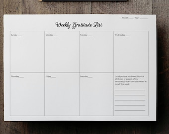 Recovery Gifts Gratitude List Daily Journal Insert Printable NotePad Weekly Sheet