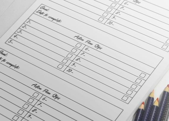 goal template a5 goal list goal sheet goal tracker monthly etsy