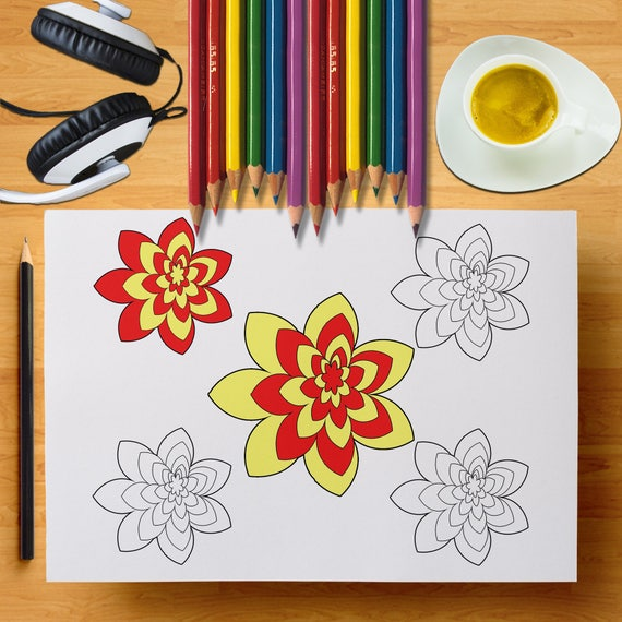 Flowers Coloring Pages Floral Coloring Page Spring Coloring Etsy