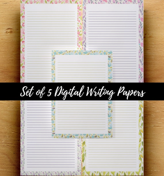 5 Notes Paper PDF, Notes Pages Template, Floral Lined Paper, Digital  Planner Pages, A4 Blank Writing Sheet, US Letter Notebook Template