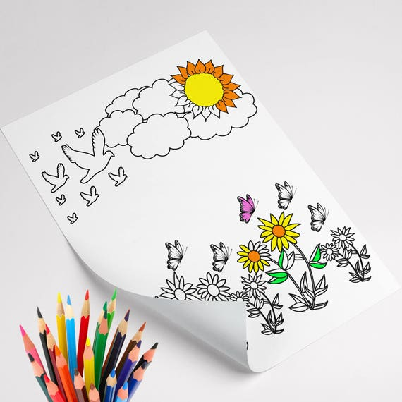 Nature Coloring Page Kid Coloring Activity Sun Coloring | Etsy