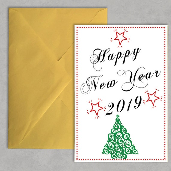 Happy New Year Cards Download New Years Greeting Happy | Etsy