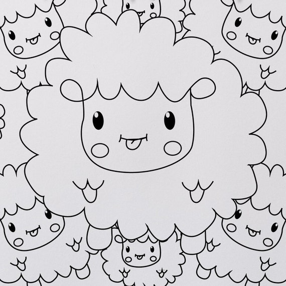 Cute Sheep Coloring Page For Children, Farm Animals, Mother Son Activity,  Father Son Activity, Hand Drawn, Instant Download