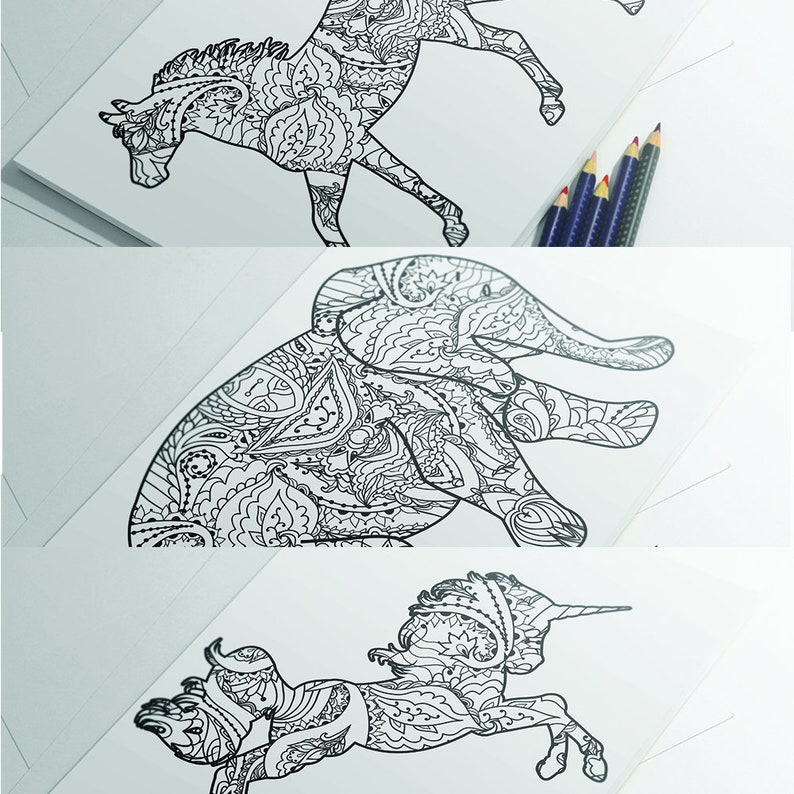 Coloriage Homme Cheval.Page A Colorier Coloriage Elephant Animal Cheval Coloriage Etsy