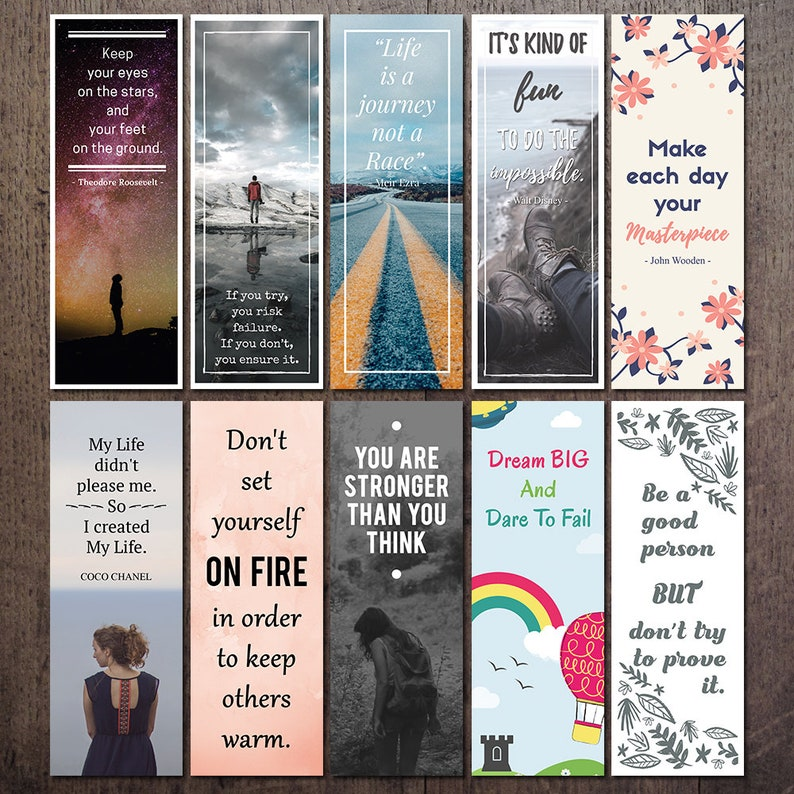 ee7f37c18d07 Printable Quote Bookmark Set Motivational and Inspirational | Etsy