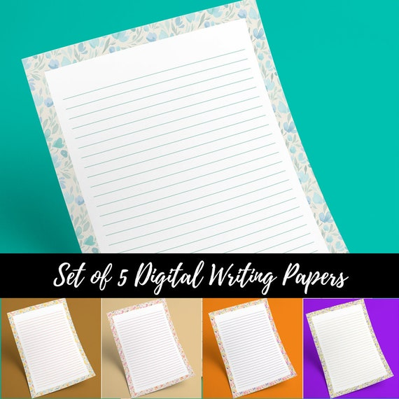 graphic regarding Stationary Printable called Floral Producing Paper Printable Stationary, Covered Notepaper Printable, Very Stationary Paper, A4, US Letter, PDF Obtain