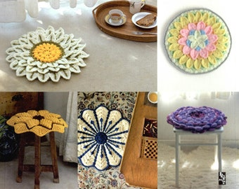 Crochet flower cushion patterns Book - Crochet Cushions for Stools with Arne & Carlos flat cushions chairs sitting mat Japanese Craft Book