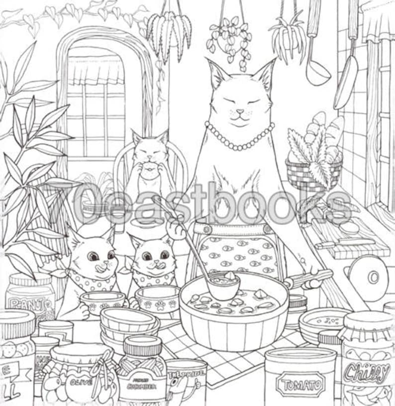 Cat Coloring Therapy Cat Coloring Book by Grace J nakdsok ...
