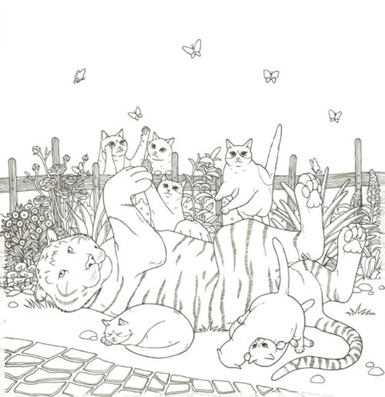Cat Coloring Therapy Vol.2 Cat Coloring Book by Grace J | Etsy