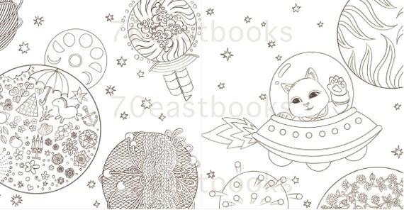 Fantastique Voyage De Chat Livre A Colorier Pour Adulte Chat Illustrations Coloration Coreen Coloring Book