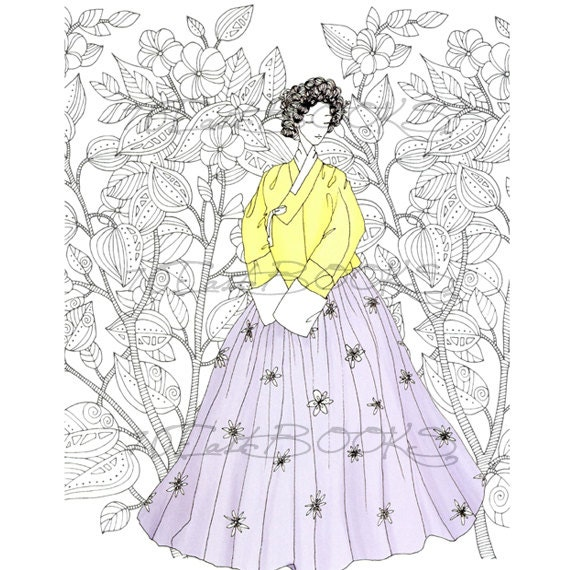 Hanbok Fashion Coloring Book Korean Traditional Clothes Etsy - Korean-hanbok-coloring-pages
