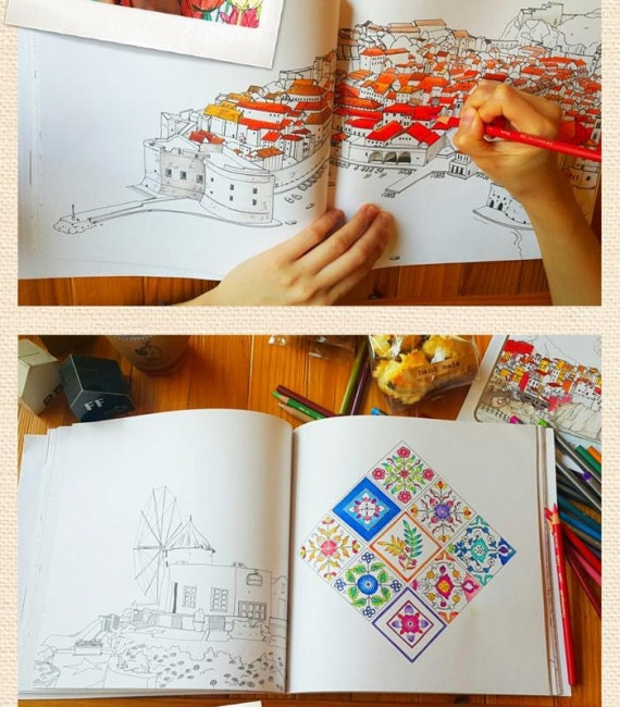 Places In Europe Coloring Book For Adult Fantastic Cities Colouring Illustrations Travel Korean Pages