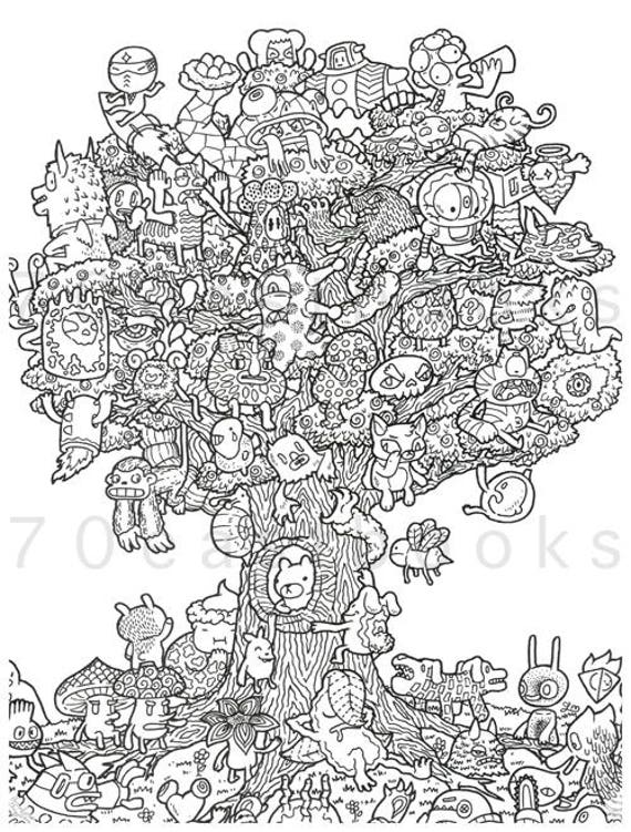 Doodle Fusion Coloring Book For Adult Zifflins A Zifflin Illustrated By Irvin Ranada