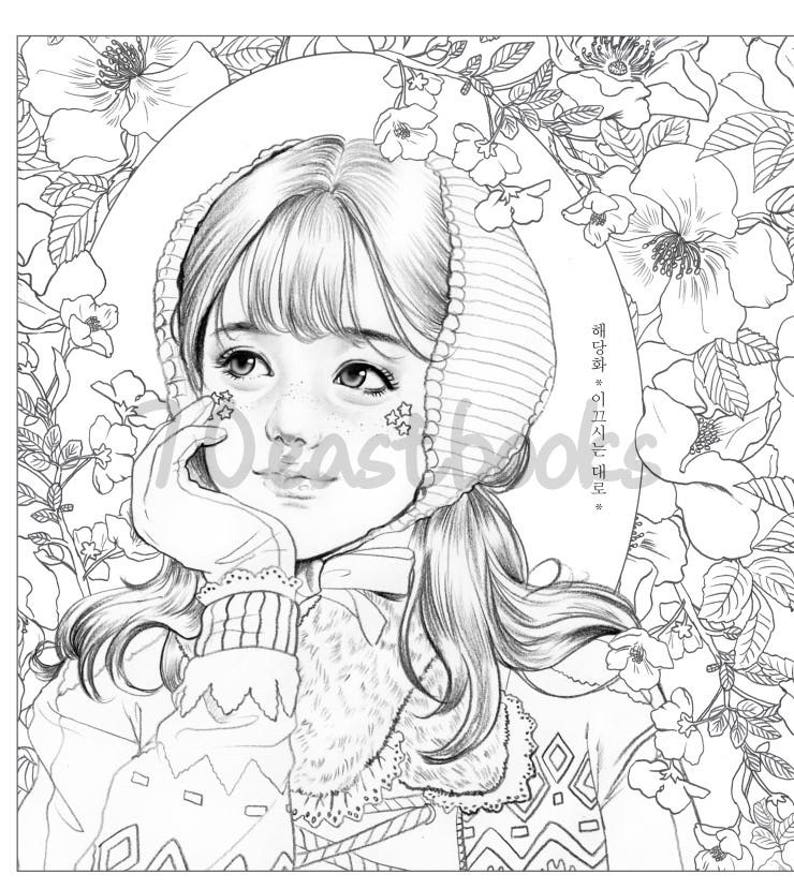 Girls with Poem by m.o.m.o girl - Girls Coloring book by momo girl Korean  Coloring Book