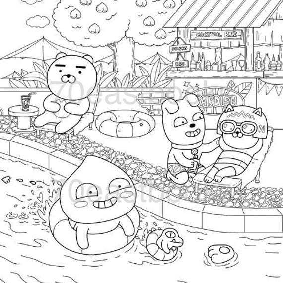 Kakao Friends Story Coloring Book Kakao Korean Colouring