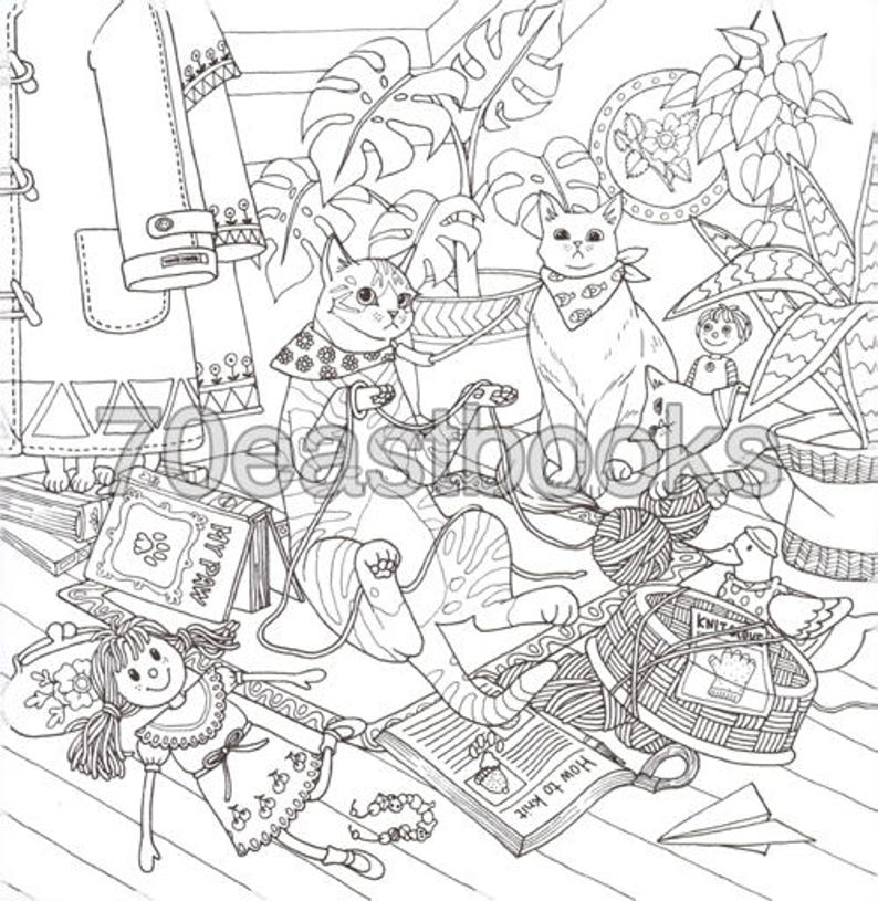 Cat Coloring Therapy Cat Coloring Book by Grace J nakdsok   Etsy